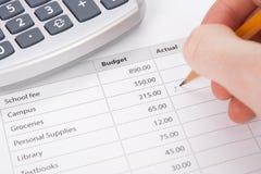 Presupuesto del estudiante Foto de archivo