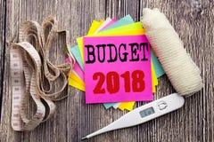 Presupuesto 2018 del texto del aviso de la escritura Concepto de la salud de la aptitud del negocio para el sti escrito planeamie Foto de archivo libre de regalías