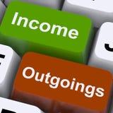 Presupuesto y contabilidad de la demostración de las llaves de los Outgoings de la renta Imágenes de archivo libres de regalías
