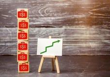 Presupuesto y renta de la compañía del aumento Aumento de beneficios Aumento salarial Asunto acertado abundancia Planeamiento del fotografía de archivo
