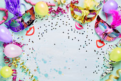 Pret Carnaval, maskerade of Mardi Gras-kader royalty-vrije stock afbeeldingen