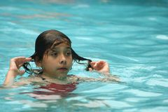 Pret in de pool Stock Foto's