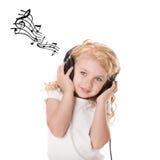 Pret die aan muziek luistert Stock Afbeelding