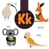 Pret dierlijke brieven van het alfabet voor de ontwikkeling en het leren van peuterkinderen Reeks leuke bos, binnenlands en marie Royalty-vrije Stock Afbeeldingen