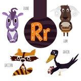 Pret dierlijke brieven van het alfabet voor de ontwikkeling en het leren van peuterkinderen Reeks leuke bos, binnenlands en marie Royalty-vrije Stock Fotografie