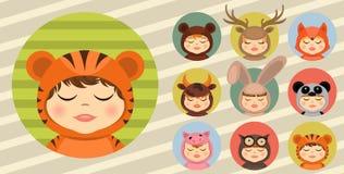 Pret dierlijke kostuums, geplaatst avatars Stock Foto's