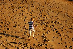Pret in het zand stock fotografie