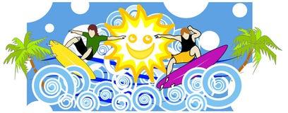 Pret met de zon stock illustratie