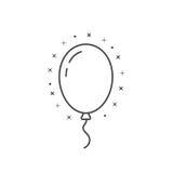 Pret met het dunne pictogram van de lijnballon stock illustratie