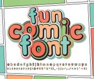Pret multicolored grappige doopvont, de pagina van het strippaginaboek Royalty-vrije Stock Foto's