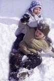 Pret op sneeuw royalty-vrije stock foto's