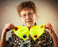 Pret oude vrouw Stock Afbeelding