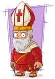 Prete cattolico anziano del fumetto con il rosario illustrazione di stock
