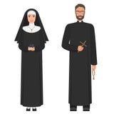 Prete cattolico e suora Illustrazione piana di vettore del fumetto Immagini Stock Libere da Diritti