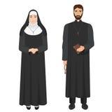 Prete cattolico e suora Illustrazione realistica di vettore Immagini Stock Libere da Diritti