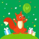 Preteekhoorn Eekhoorn Vectoreekhoorn gelukwens Royalty-vrije Stock Foto
