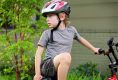 Preteen Biker Looking Back Stock Image
