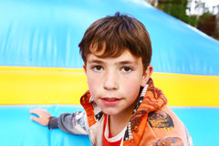 Preteen  boy closeup portrait on the trampoline background Stock Photography