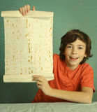 Preteen boy hold lavash thin pita bread roll Royalty Free Stock Photos
