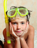 Preteen boy in snorkeling mask and tube Royalty Free Stock Images