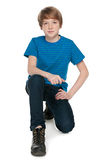 Preteen boy on the white background Royalty Free Stock Images