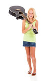 Preteen carrying guitar Royalty Free Stock Photos