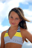 Preteen girl in bikini top Royalty Free Stock Image