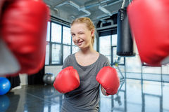 Preteen girl boxing with senior trainer Royalty Free Stock Photography