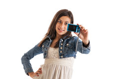 Preteen girl with camera Royalty Free Stock Image