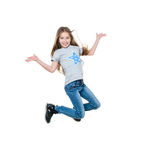 Preteen girl dancing and jumping, isolated Stock Image