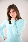 Preteen girl in glasses Stock Images