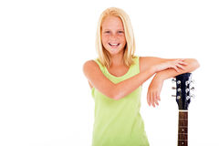 Preteen girl guitar Stock Image