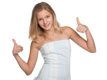 Preteen girl with her thumbs up Royalty Free Stock Photos