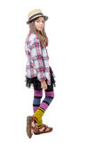 Preteen girl in hipster style . isolated on white Stock Images