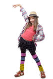 Preteen girl in hipster style . isolated on white Royalty Free Stock Photo