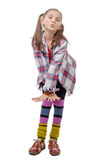 Preteen girl in hipster style . isolated on white Stock Photos
