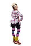 Preteen girl in hipster style .  on white Stock Image