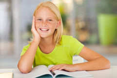 Preteen girl home. Cute preteen girl portrait at home Stock Images