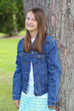 Preteen girl in jean jacket Royalty Free Stock Photos