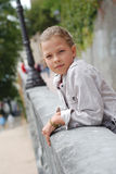 Preteen girl in the park. Royalty Free Stock Photography