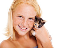 Preteen girl pet Stock Image