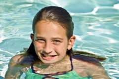 Preteen Girl in a Pool Stock Photography