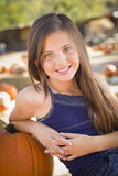Preteen Girl Portrait at the Pumpkin Patch Royalty Free Stock Images