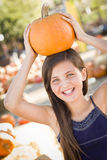 Preteen Girl Portrait at the Pumpkin Patch Royalty Free Stock Photography