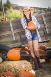Preteen Girl Portrait at the Pumpkin Patch Stock Photography