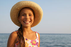 Preteen girl on sea beach Royalty Free Stock Photo