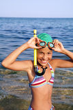 Preteen girl on sea beach Stock Images