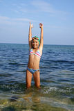 Preteen girl on sea beach Royalty Free Stock Photos