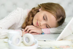 Preteen girl sleeping Stock Photo