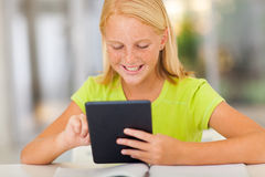 Preteen girl tablet Royalty Free Stock Photos